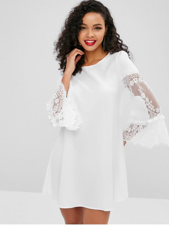women's Flare Sleeves Lace Panel Mini Dress - WHITE M