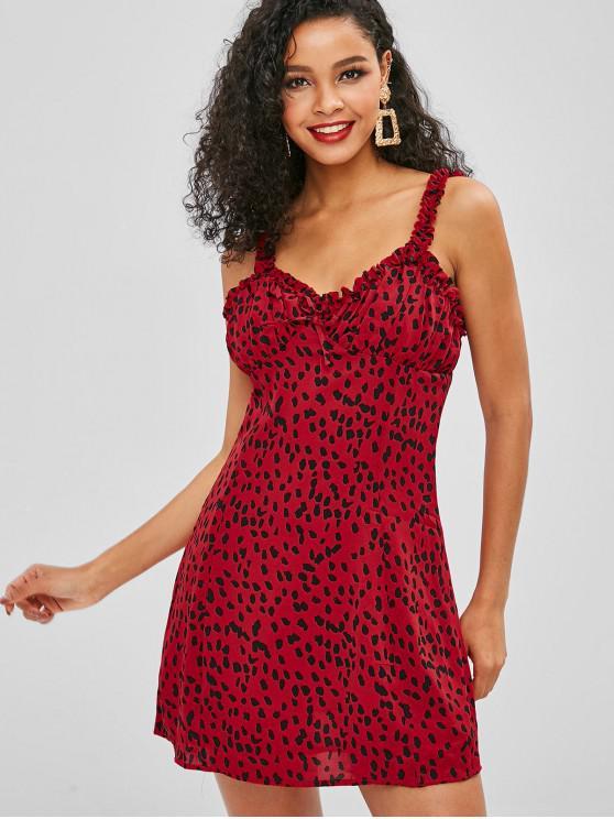 Leopardo Ruffle Mini Vestido - Vermelho Cereja M