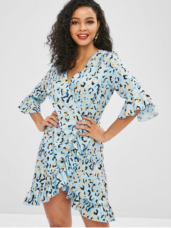 chic Graphic Flare Sleeve Wrap Dress - SKY BLUE S
