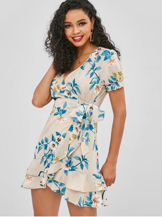 lady Flower Flounce Surplice Dress - MULTI L