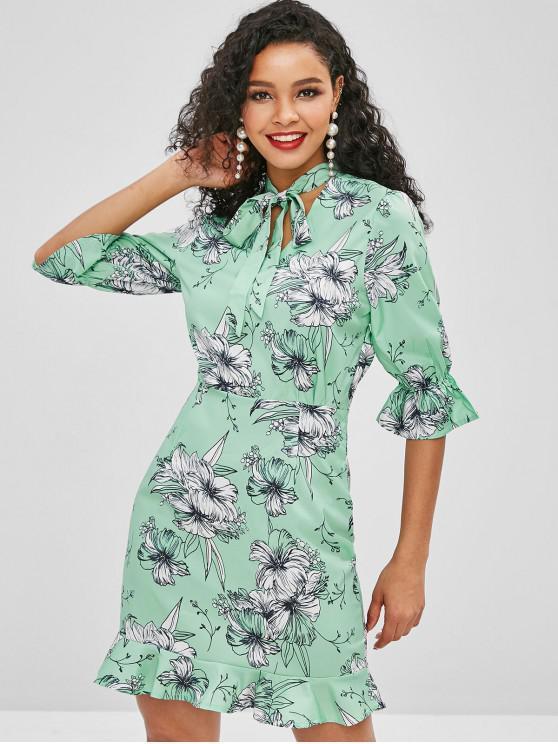latest Flower Tie Neck Bell Sleeve Dress - GREEN S