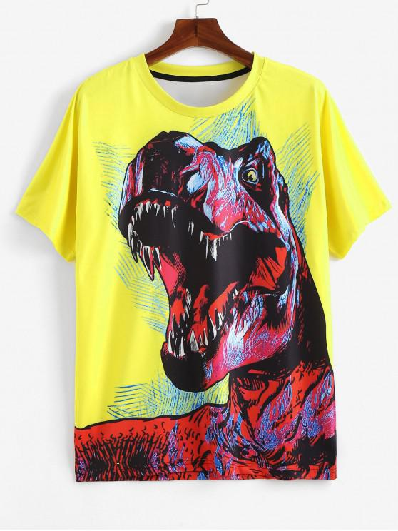 buy Dragon Print T-shirt - YELLOW XL