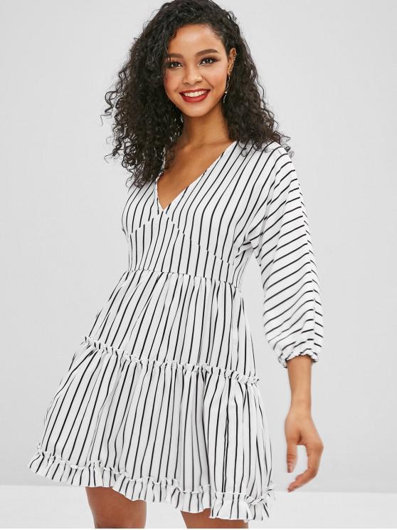 1bb05d727fa0d 32% OFF] 2019 Ruffled Stripes Mini Dress In WHITE | ZAFUL