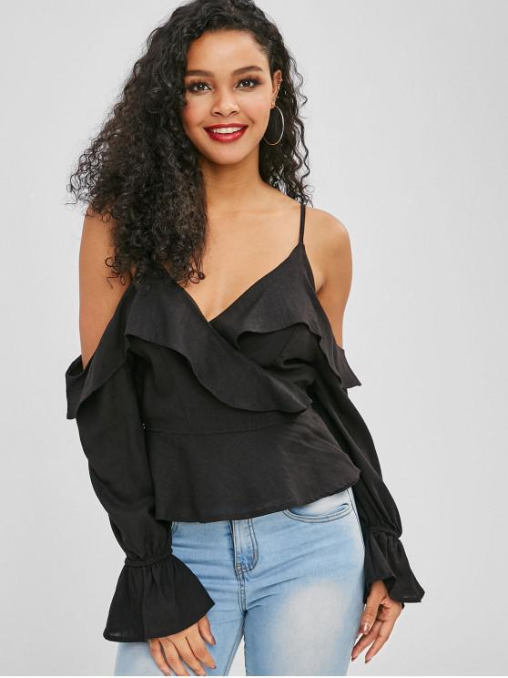 affordable Cami Bell Sleeve Peplum Wrap Blouse - BLACK L