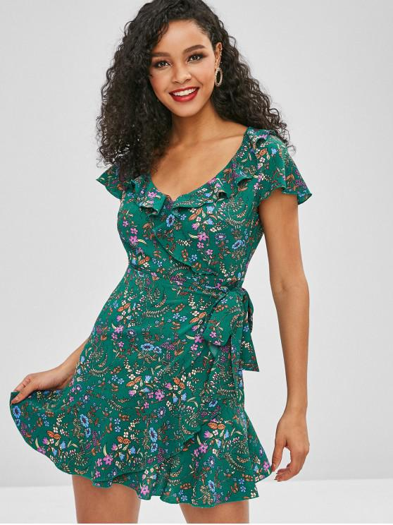 shops ZAFUL Cap Sleeve Floral Overlay Mini Tea Dress - MULTI S