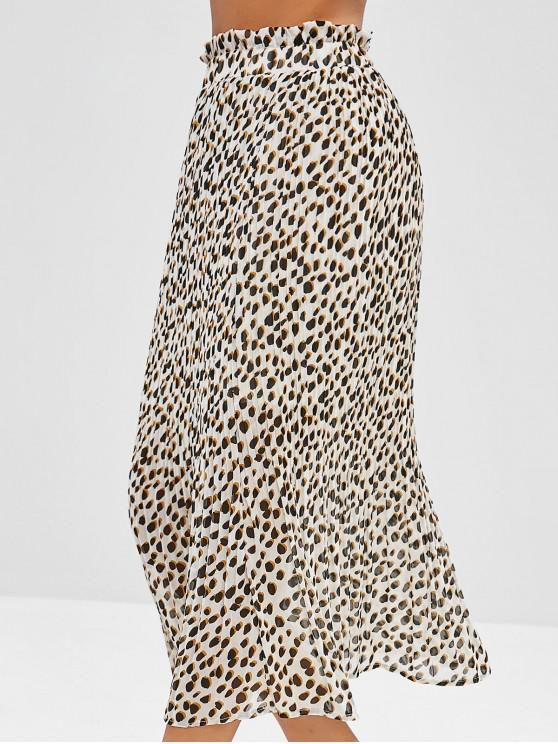 buy Leopard Pleated Ruffle Skirt - MULTI-A L