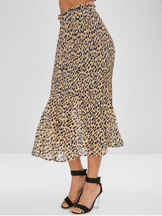 latest Leopard Pleated Ruffle Skirt - MULTI-B M