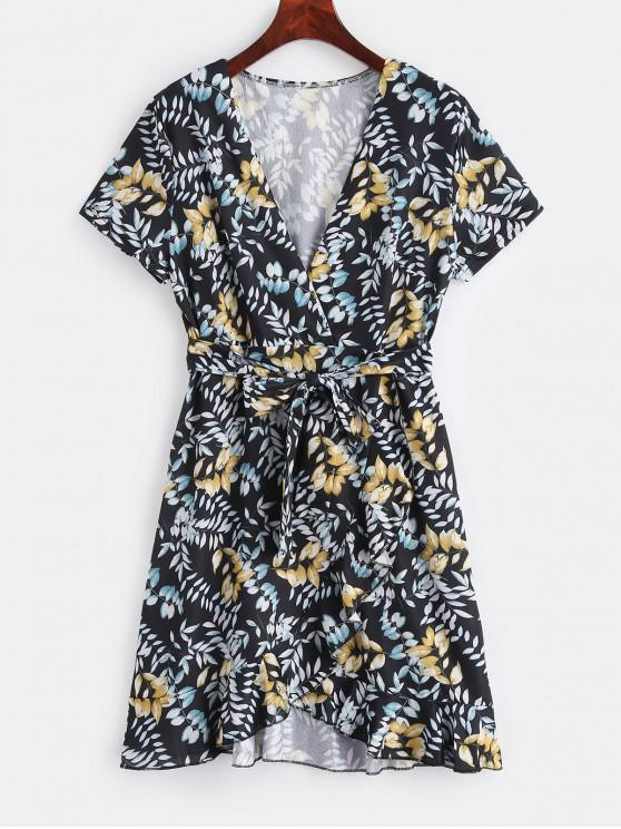 hot Ruffled Print Belted Surplice Dress - BLACK S