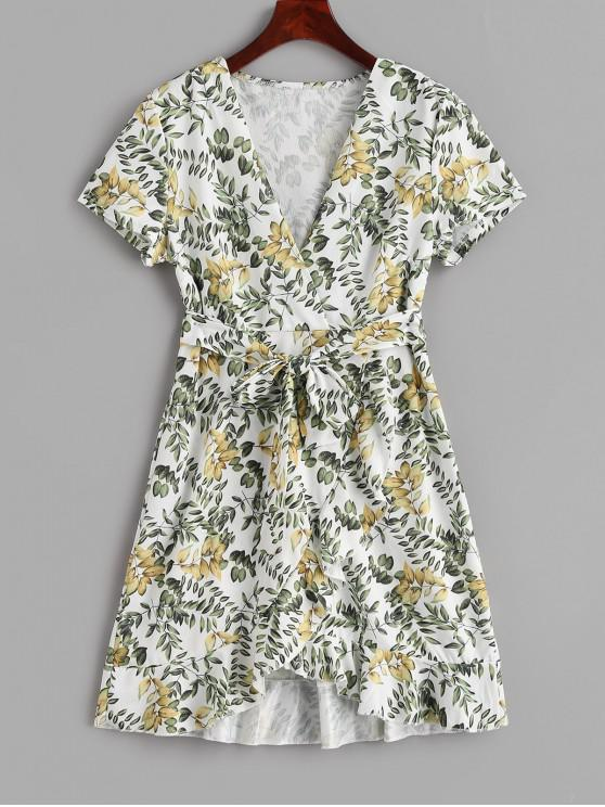 latest Ruffled Print Belted Surplice Dress - WHITE M