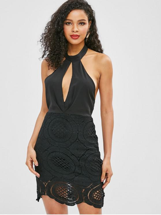 ladies Halter Backless Crochet Dress - BLACK M