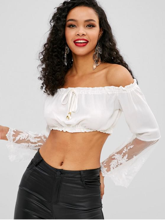 fancy Mesh Panel Off Shoulder Crop Blouse - WHITE M