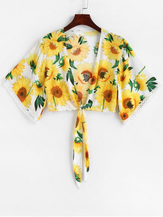 unique ZAFUL Sunflower Print Tie Front Crop Blouse - NATURAL WHITE M