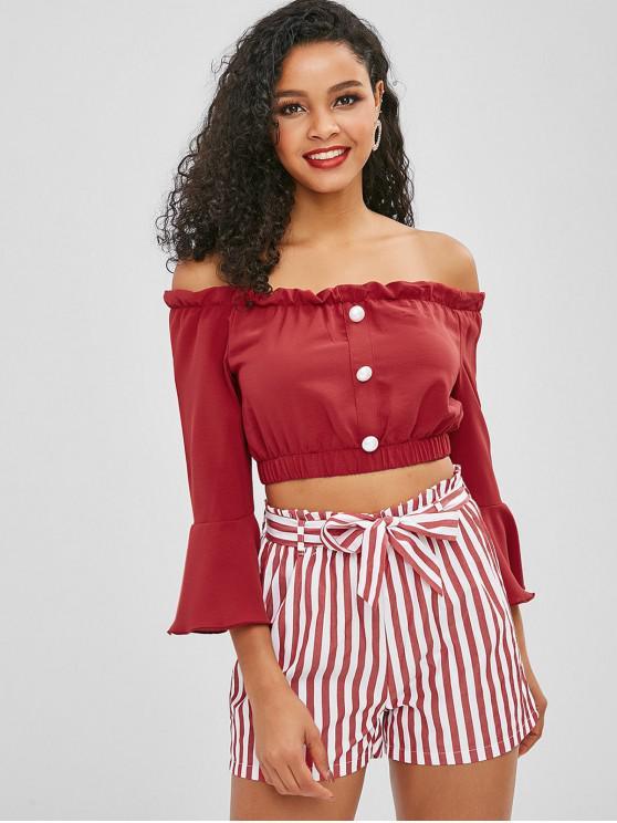 sale ZAFUL Off Shoulder Buttoned Stripes Shorts Set - RED M