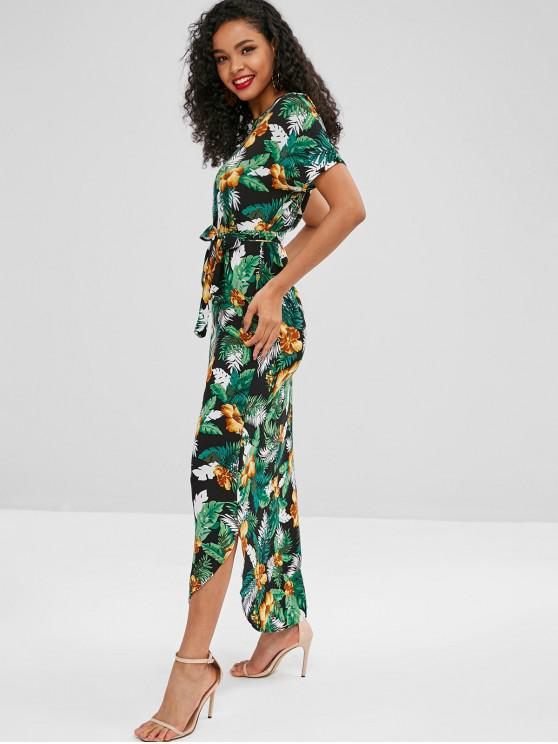 best Floral Leaves Print Belted Maxi Dress - DEEP GREEN M