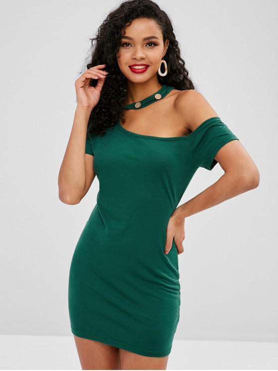 sale Buttons Embellished Skew Neck Plain Dress - DEEP GREEN S