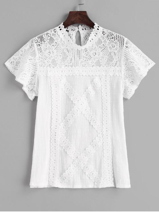 women Lace Keyhole Back Sheer Top - WHITE S
