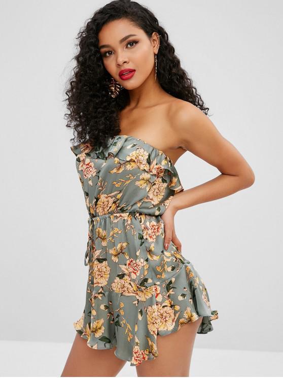 fashion Floral Print Silky Ruffled Bandeau Dress - GRAYISH TURQUOISE M