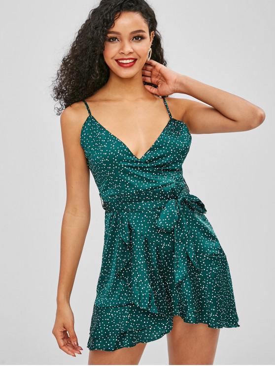 best Polka Dot Cami Ruffle Dress - GREENISH BLUE L