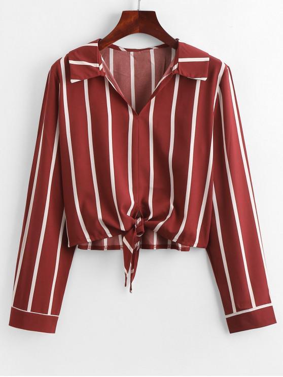 shops Self-tie Stripe Blouse - RED XL