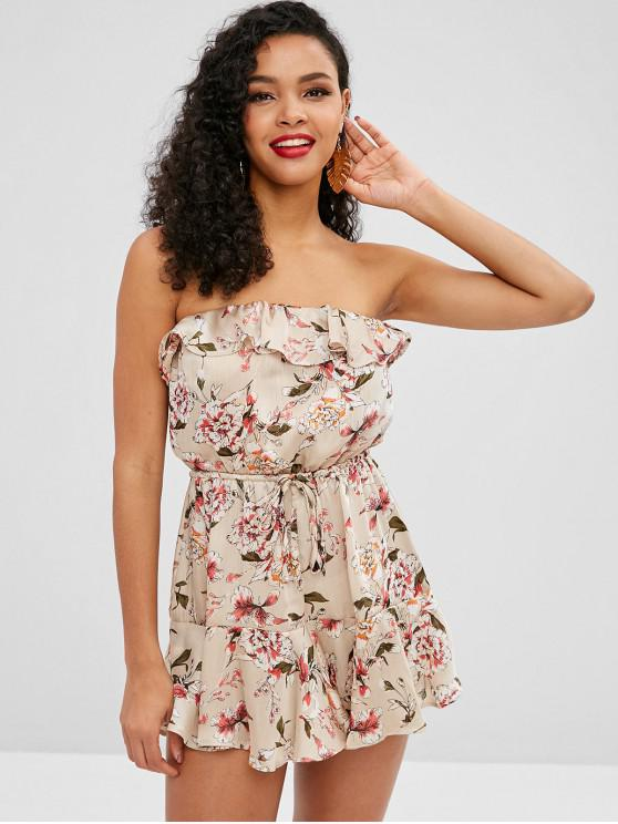 shops Floral Print Silky Ruffled Bandeau Dress - TAN S