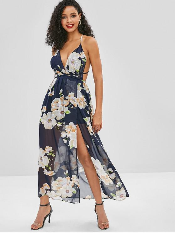 women Backless Slit Floral Maxi Dress - MIDNIGHT BLUE S