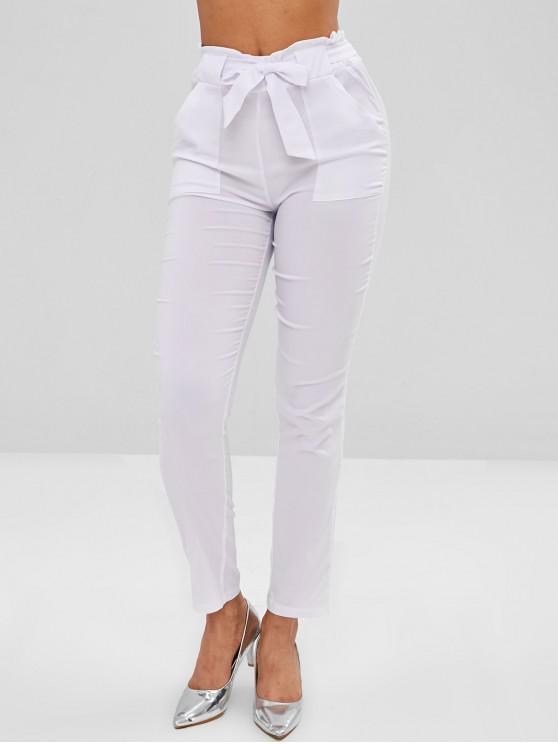 store get cheap crazy price Pantalon Droit à Taille Haute avec Poches WHITE BLACK