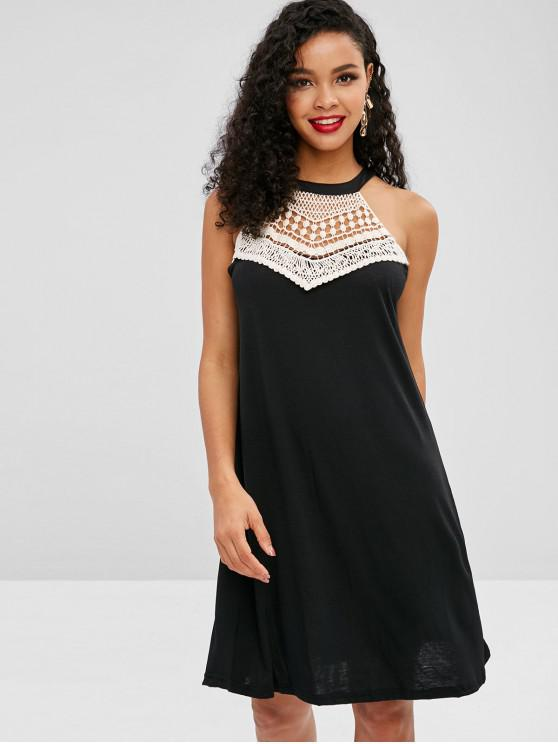 lady Crochet Panel Sleeveless Mini Dress - BLACK S
