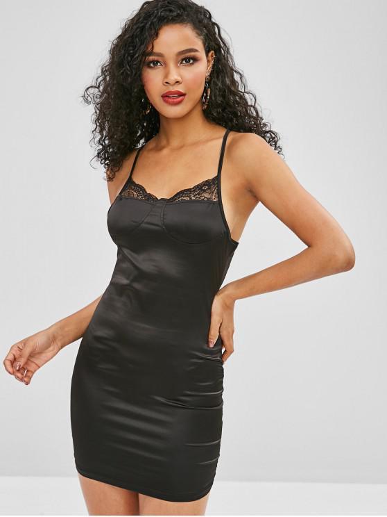 柔滑的緞面Bodycon吊帶裙 - 黑色 M