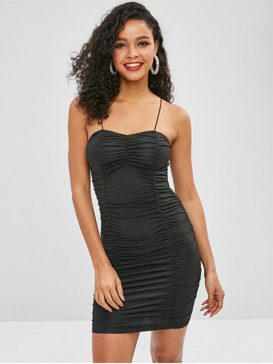 outfits Shirred Bodycon Cami Party Dress - BLACK L