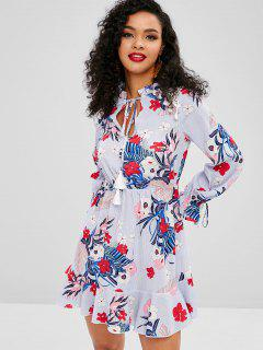 ZAFUL Tassel Flower Print Flare Sleeve Dress - Light Slate Blue S