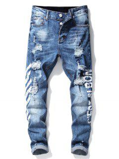 Stripe Letter Ripped Jeans - White 38