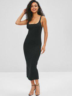 ZAFUL Slit Ribbed Sweater Dress - Black