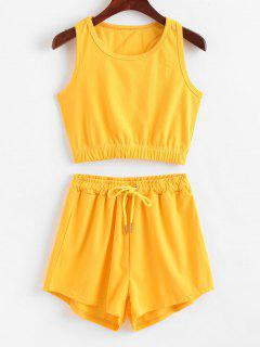 ZAFUL Sporty Racerback Top And Shorts Set - Yellow L