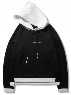 Two Tone Embroidered Letter Hoodie - Black S