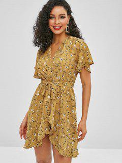 ZAFUL Belted Ruffles Floral Wrap Dress - Bee Yellow S
