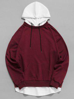 Contrast Hem Drawstring Hooded Sweatshirt - Red Wine S