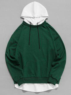 Contrast Hem Drawstring Hooded Sweatshirt - Green S