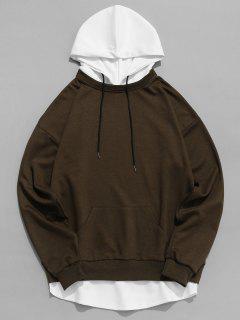 Contrast Hem Drawstring Hooded Sweatshirt - Brown M