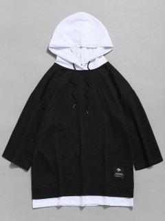 Colorblock Patchwork Half Sleeve Hoodie - Black Xs