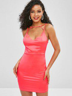 Cami Shiny Bodycon Party Dress - Watermelon Pink S