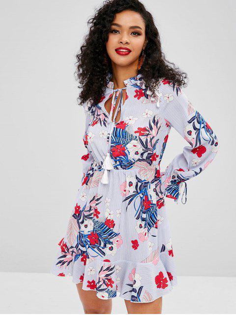 trendy ZAFUL Tassel Flower Print Flare Sleeve Dress - LIGHT SLATE BLUE S Mobile