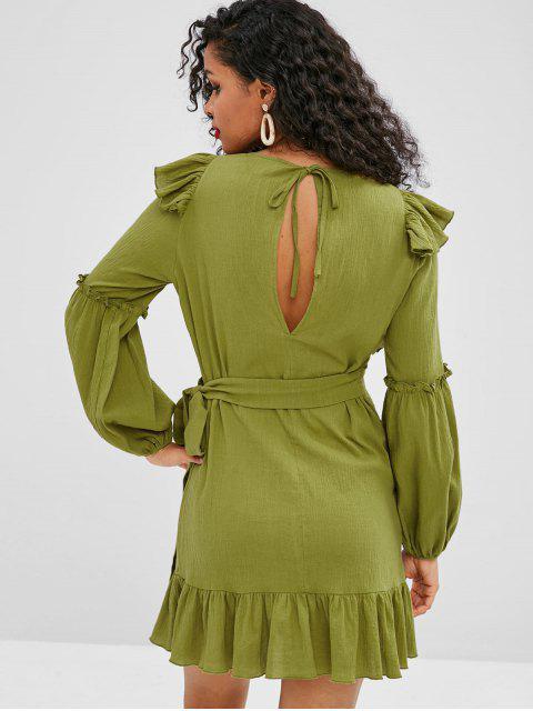 ZAFUL Robe Superpoée Simple à Volants - Vert Avocat S Mobile