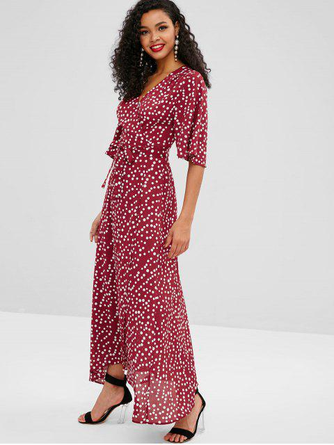 best ZAFUL Polka Dot Long Wrap Dress - MULTI L Mobile