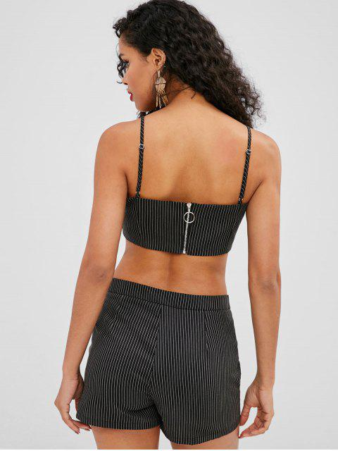 latest ZAFUL Striped Cami Top and Shorts Set - BLACK L Mobile