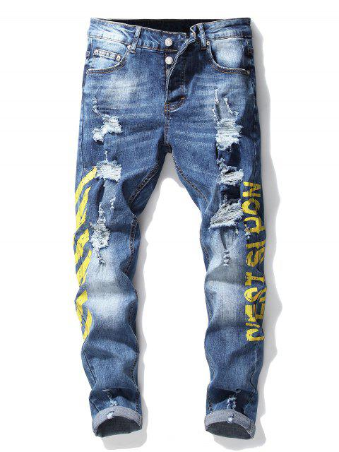 shops Stripe Letter Ripped Jeans - YELLOW 34 Mobile