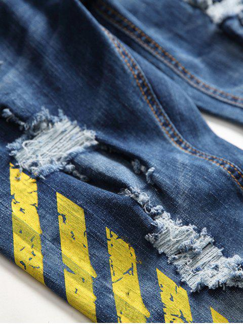 trendy Stripe Letter Ripped Jeans - YELLOW 38 Mobile