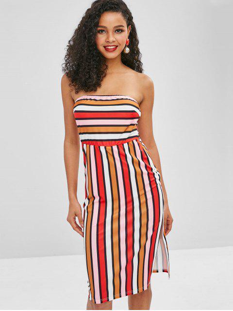hot ZAFUL Stripes Slit Tube Dress - MULTI L Mobile