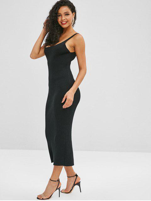 women's ZAFUL Slit Ribbed Sweater Dress - BLACK ONE SIZE Mobile