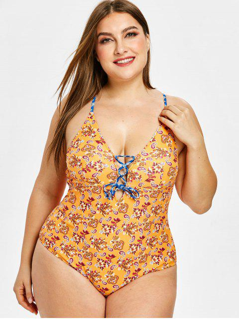 buy ZAFUL Ethnic Lace Up Backless Plus Size Swimsuit - SANDY BROWN 2X Mobile