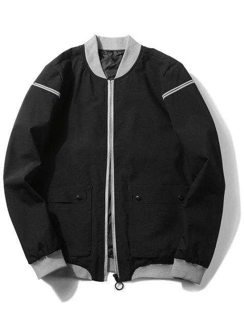 fancy Zip Up Front Pocket Jacket - BLACK XL Mobile